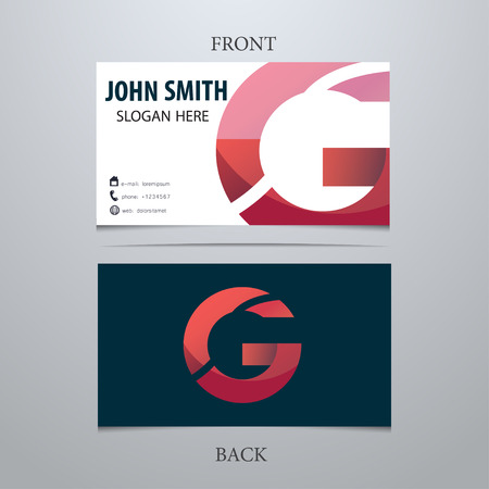 Vector creative business card template, letter G. Trendy business elements.
