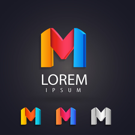 Colorful logo design set template, letter m. Creative 3d vector icons. Trendy business elements.