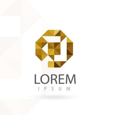 letter p: Hexagon logo design, letter P. Triangle vector icon. Creative geometric shape.