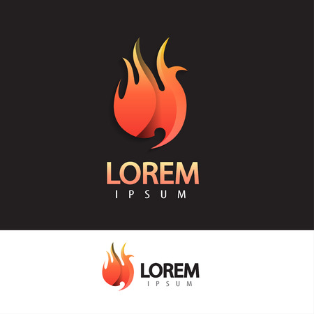 Abstract fire logo design template. Creative business logotype for your company. Vector trendy concept. Vector