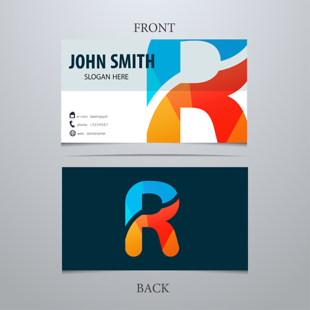 Vector creative business card template, letter R. Trendy business elements. Illusztráció