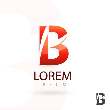 Creative logo design, letter B. Colorful vector icon. Trendy business elements. Çizim