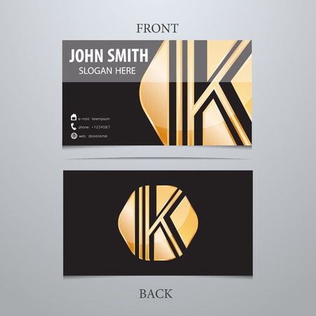 Vector gold metallic business card template, letter K. Trendy business elements.