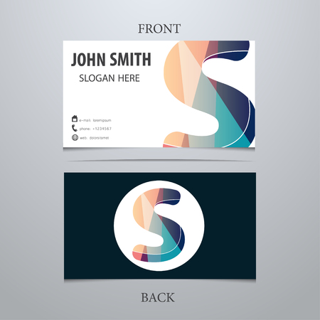 Vector creative business card template, letter S. Trendy business elements.