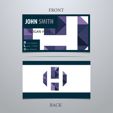Vector creative business card template, letter H. Trendy business elements. Illusztráció
