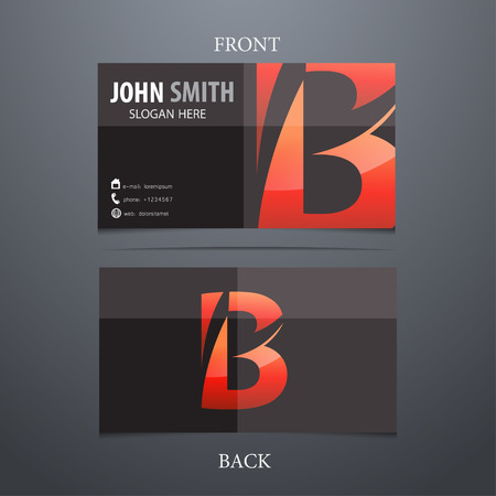 b: Vector creative business card template, letter B. Trendy business elements.