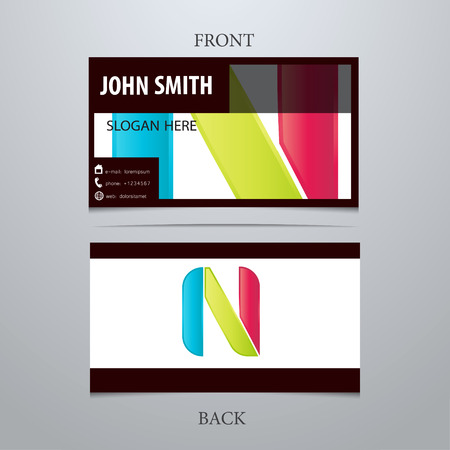 Vector creative business card template, letter N. Trendy business elements.