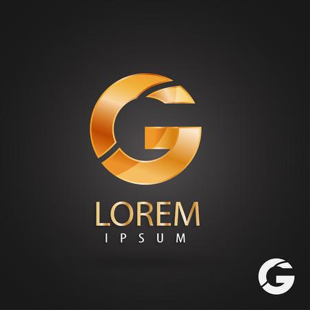 황금 로고 디자인, 문자 g. 크리 에이 티브 금속 벡터 아이콘입니다. 트렌디 한 비즈니스 요소입니다.