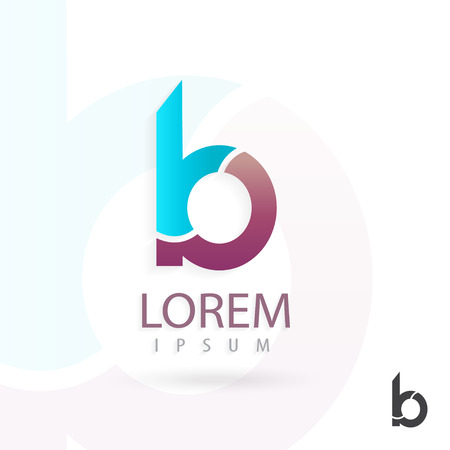 b: Creative logo design, letter b. Colorful vector icon. Trendy business elements. Illustration