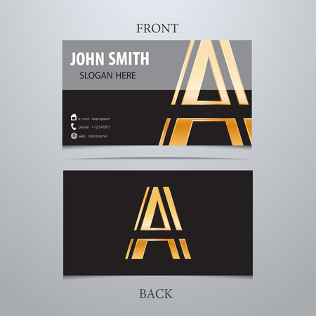 Vector gold metallic business card template, letter A. Trendy business elements.