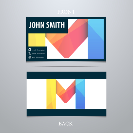 Vector creative business card template, letter M. Trendy business elements. Illusztráció