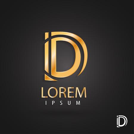 Golden logo design, letter d. Creative metallic vector icon. Trendy business elements.