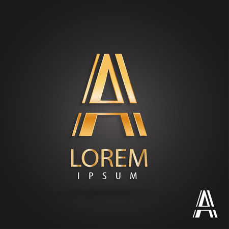 Golden logo design, letter a. Creative metallic vector icon. Trendy business elements.