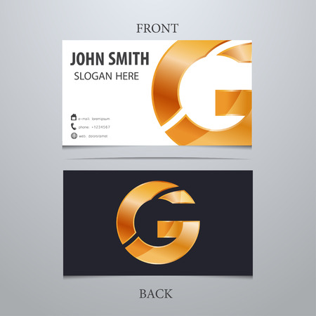 letter g: Vector gold metallic business card template, letter G. Trendy business elements. Illustration