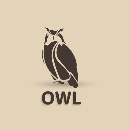 Vector stylized owl. Artistic creative design. Silhouette bird logo icon. Vector