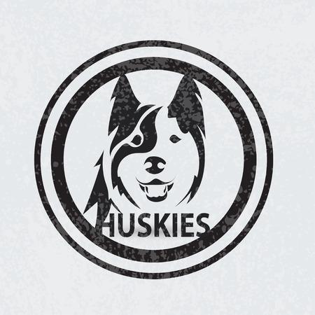 huskies: Stylized silhouette face huskies. Artistic creative logo design. Animal emblem. Vector illustration. Illustration