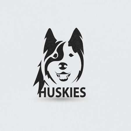 huskies: Estilizados huskies cara silueta. Dise�o del logotipo creativo art�stico. Ilustraci�n vectorial Vectores