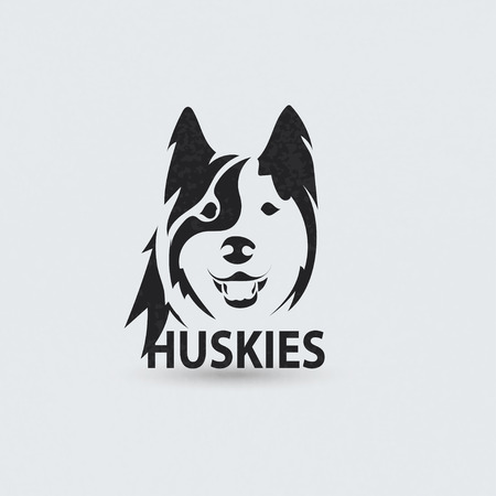 alaskan: Stylized silhouette face huskies. Artistic creative logo design. Vector illustration