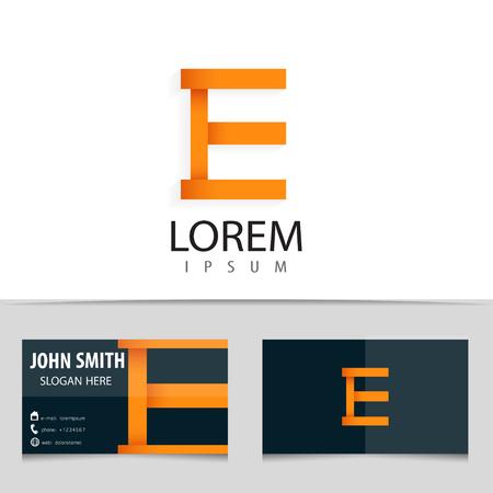 e business: Vector logo design, letter E, business card template. Illustration