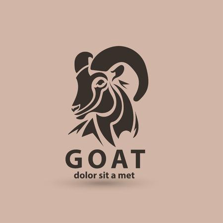 Gestileerde silhouet gezicht geit. Vector wild dier embleempictogram template. Artistiek creatief ontwerp. Vector Illustratie