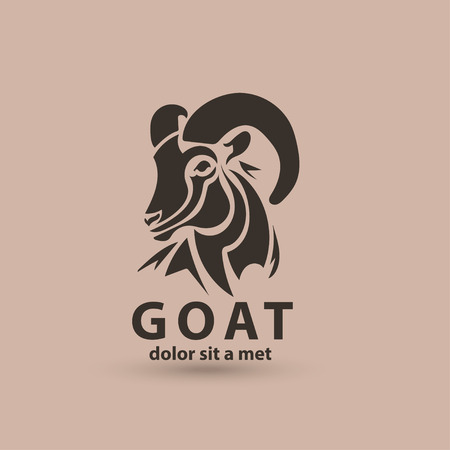 Stylized silhouette face goat. Vector wild animal logo icon template. Artistic creative design.