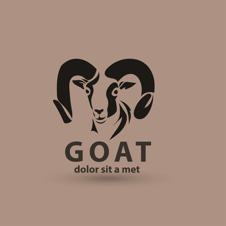 domestic goat: Vector stylized silhouette face goat. Artistic creative logo design.