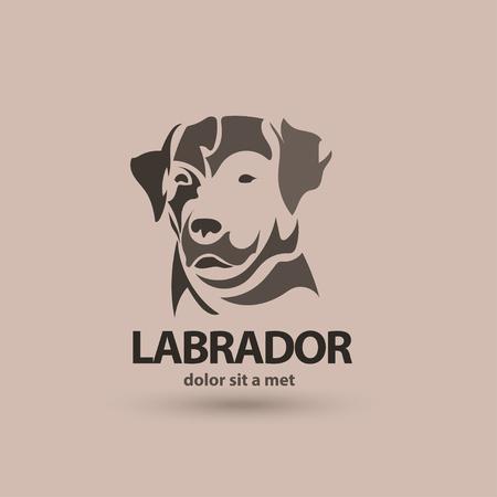 벡터 양식에 일치시키는 실루엣 얼굴 래브라도. 예술 창작 로고 디자인.