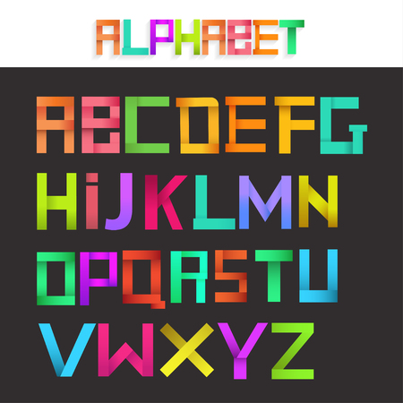 paper spell: Colorful ribbon alphabet set. Creative concept. Vector illustration. Illustration