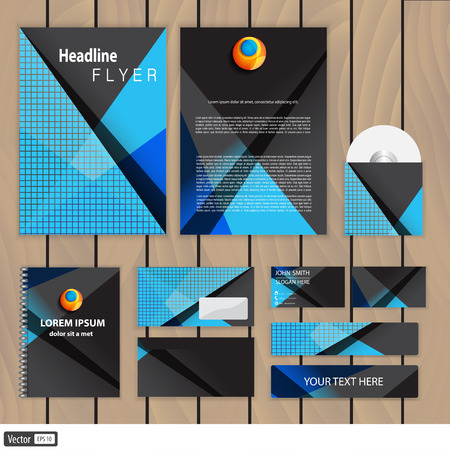 Modern triangle corporate identity. Trendy business concept with logo design template. Vector illustration.