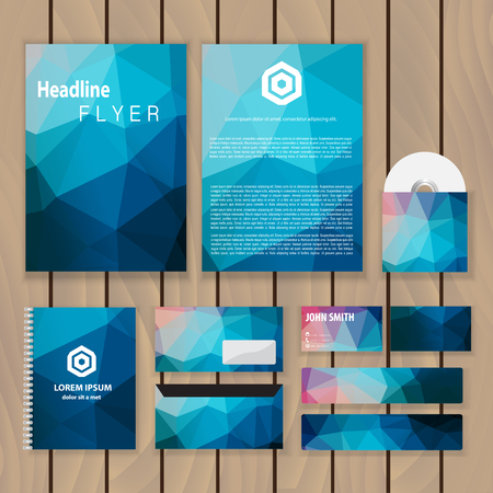 Polygonal blue corporate identity. Trendy business concept with hexagon logo design template. Vector illustration.