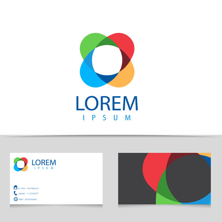 Abstract infinity logo design. Colorful logotype with business card template. Vector creative icon.
