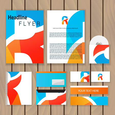 Creative colorful corporate identity. Trendy business concept with logo design template, letter r. Vector illustration.