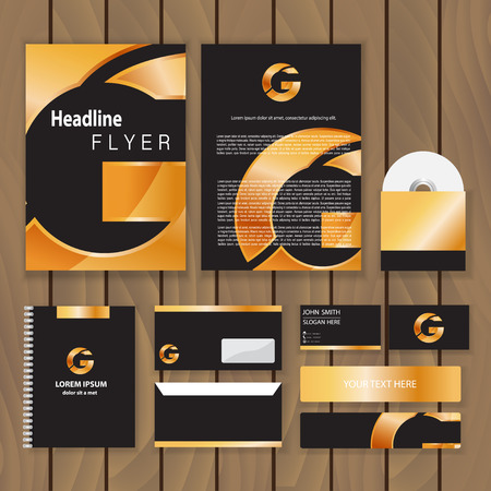 identities: Metallic gold corporate identity. Trendy business concept with logo design template. Vector illustration.