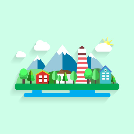 fishing village: Artistic creative village landscape. Mountains, trees, architecture elements. Colorful vector illustration. Trendy flat design. Illustration