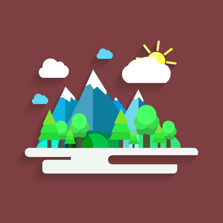fishing village: Artistic creative village landscape with mountains. Colorful vector illustration. Trendy flat design.