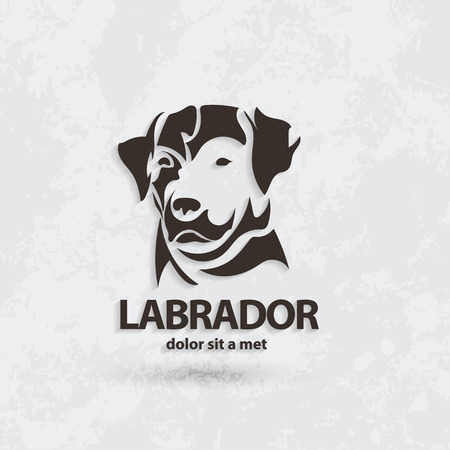 brown and black dog face: Stylized silhouette of a dog. Artistic creative idea. Labrador logo design template. Vector illustration.