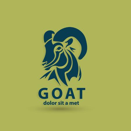 cabra: Silueta de la cara estilizada cabra. Plantilla de diseño del logotipo de los animales salvajes. Idea creativa artística. Ilustración del vector.
