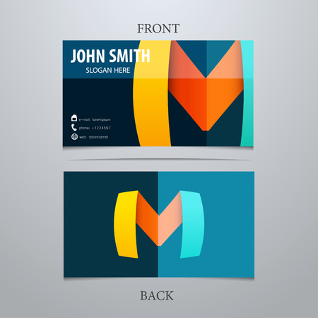 3d icons: Vector creative business card template, letter M. Trendy business elements. Illustration