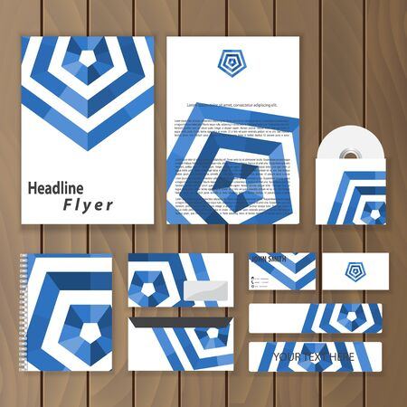 catalog cover: Creative corporate identity. Geometric stationery template. Trendy business concept with hexagon logo design. Vector illustration.
