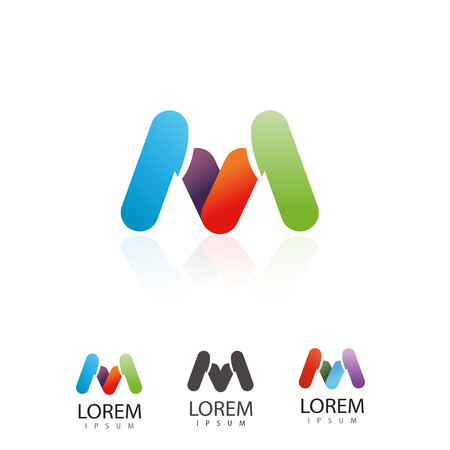 logotypes: Creative letter M, logo design. Colorful set logotypes for your company. Vector illustration.