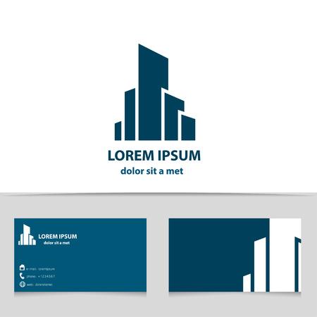 logos empresa: La construcción de edificios, diseño de logotipo para su empresa. Logotipo creativo con plantilla de tarjeta de visita.