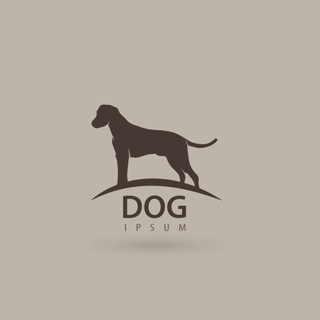 wagging: Stylized dog  design. Artistic animal silhouette. Vector illustration.