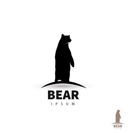 oso negro: Plantilla de dise�o oso estilizada. Silueta animal art�stico.