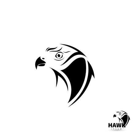 tatuaje de aves: Estilizada silueta de la cara de halc�n. Art�stico concepto tatuaje del p�jaro. Ilustraci�n del vector.