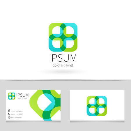 infinity icon: Creative abstract looped ribbon  design with business card template.