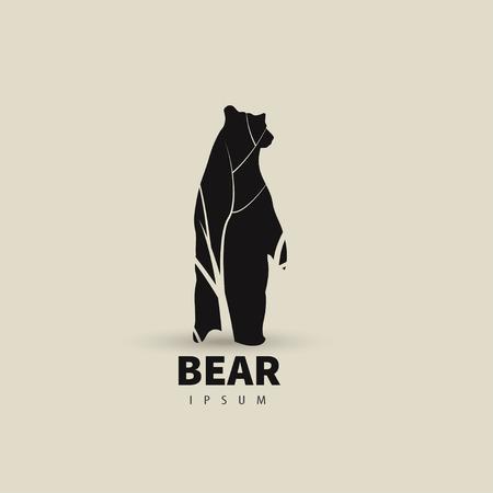 grizzly: Modèle de conception stylisée ours de logo pour votre entreprise. Artistique silhouette animale. Vector illustration.
