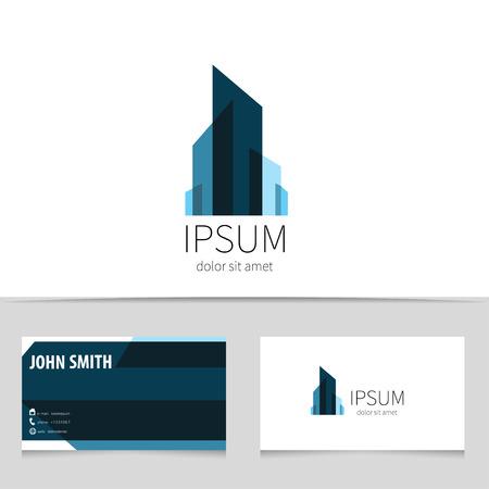 logotipo de construccion: Dise�o del logotipo edificio creativo con plantilla de tarjeta de visita. Trendy logotipo ciudad concepto para su empresa. Ilustraci�n del vector.