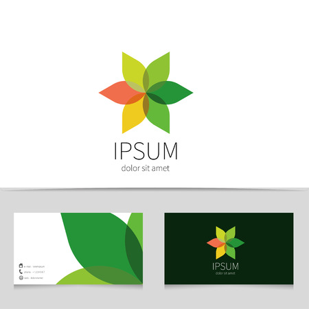 business travel: Creative flower logo design with business card template. Trendy eco concept logotype for your company. Vector illustration.