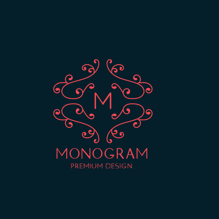 graceful: Artistic elegant floral monogram. Graceful line art logo design. Trendy business concept. Vector illustration.