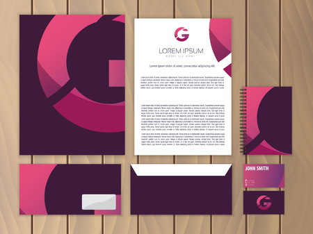 stationery: Creative corporate identity with logo design, letter G. Trendy stationery business concept. Vector illustration.